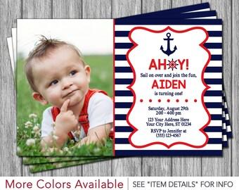 Nautical Birthday Invitation - Anchor