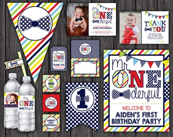 Mr. ONEderful Birthday Invitation and Party Decorations - 10 Printable Digital Files
