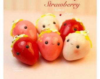Mini Strawberry Kawaii Charm Pendant Miniature Food Jewelry Polymer Clay Jewelry Handmade Gift Girl Necklace