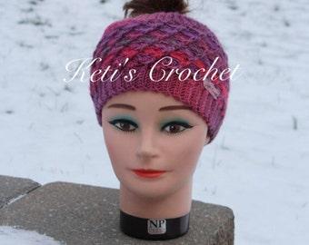 Ponytail Hat,Crochet Ponytail Hat,Ponytail Beanie,Crochet Ponytail Beanie,Crochet Hat,Crochet Earwarmer,Reversible Ponytail Hat,Ponytail