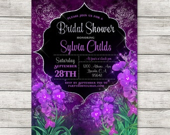 Purple Flower Bridal Shower Invitation, enchanted fantasy magic shower printable invitation, customized custom print at home digital file