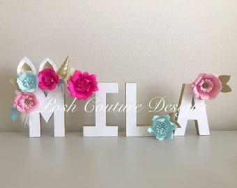 Unicorn Floral Letters/ Unicorn Photo Prop/ Unicorn Decorations/ Unicorn Centerpiece/ Unicorn Bridal Shower/ Unicorn Baby Shower