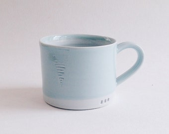 robin egg celadon mug, wheelthrown minimalist coffee cup, handmade pale blue ceramic teacup