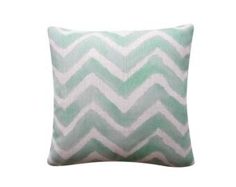 """Watercolor Chevron Cushion, Green Pillow Cover, 18"""" x 18"""" Geometric Pillow Cover, Watercolor Cushion Cover Throw Cushion Cover 234"""