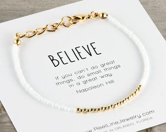 Gold BELIEVE Friendship Bracelet, Hope Bracelet, Encouragement Bracelet, Encouragement Gift, Cancer Awareness, Motivational Bracelet