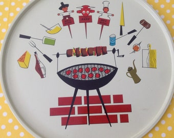 Retro serving tray, metal serving tray, metal barbecue tray, kitsch serving tray, 1950s barbeque, well done and rare