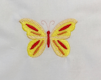 Butterfly Embroidered Quilt Block, Embroidery Motif. Ready to sew or frame. Embroidery From Australia