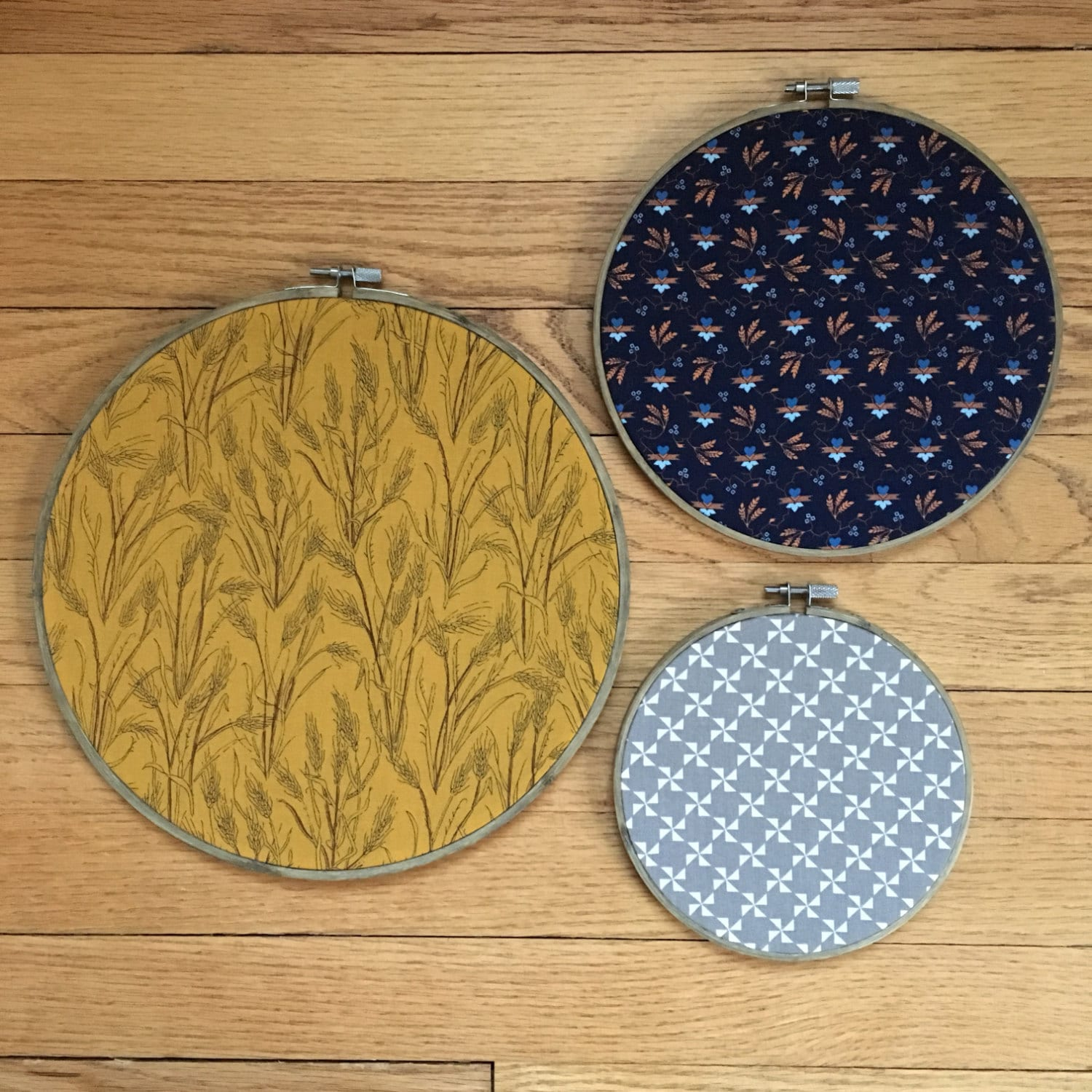 Fabric hoop art set of embroidery wheat wall