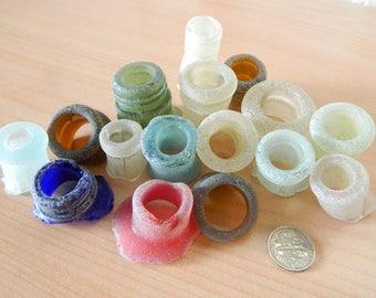 Genuine beach found sea glass bottle necks for crafts