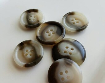 Vintage marblized cream and brown buttons. Lot of 6. (Feb23)