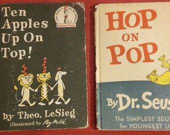 Hop on Pop and Ten Apples on Top Dr. Seuss Book Set, Vintage Hop on Pop, Vintage Ten Apples on Top, Dr. Seuss Book Set, Vintage Dr. Seuss