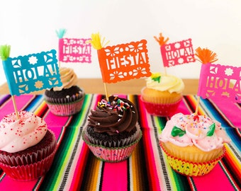 Mexican Fiesta Cupcake Toppers, Cinco de Mayo, Fiesta Birthday Party, Papel Picado Cake Decorations, Set of 12