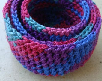 3 small lovely crochet baskets