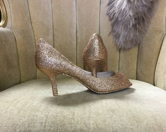 Custom made to order high heels. Sizes 5-12. Gold pumps. Open toe heels. Peep toe