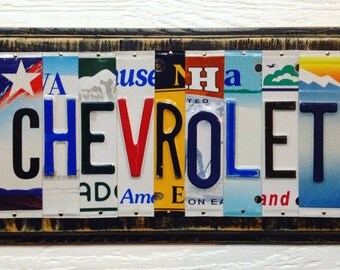 CHEVROLET License Plate Art Sign Made to Order Custom Fathers Day Mechanic Birthday Gift Recycled Tin Aluminum Car Garage Quality Handmade