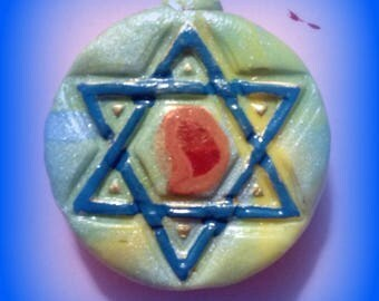 Flaming Star of David Pendant, Israeli Star with Flame, Blue and Red Star of David