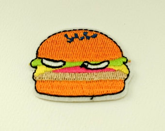 Hamburger Applique Iron On Patch - Donut, DIY, Embroidered Patch