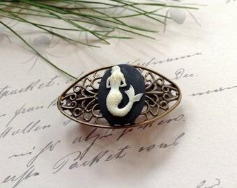 Barrette Ivory on Black Bronze Mermaid Barrette
