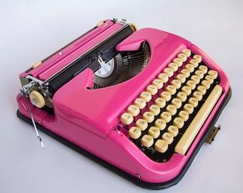 Vintage Typewriter in Pink, girls room decor, Princess 200, Maritsa, wedding gift portable Typewriter / Mid Century typewriter Home Decor