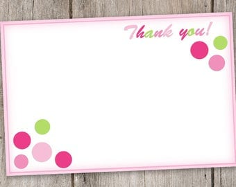 Baby Shower Thank You Note/Card for Baby Girl, Circles, Digital, Printable, 4x6, 4by6