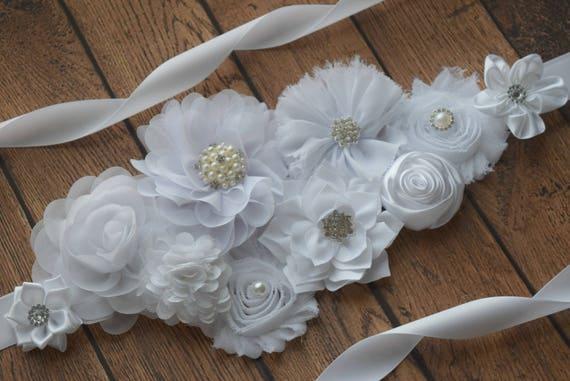White Flower Sash,  white Sash #2, flower Belt, maternity sash, flower girl sash