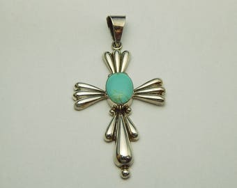 Huge Mexico Sterling Cross Pendant with Light Blue Stone, Mexico Sterling Silver Cross Turquoise