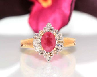 14k yellow gold natural Ruby & Diamond cluster solitaire Ballerina ring 1.00ctw