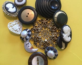 Vintage Buttons - Black and Gold Lot