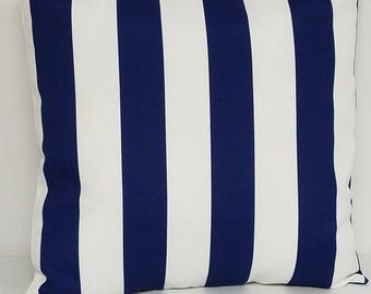 Blue and white stripe pillow cover, decorative throw pillow, Americana pillow cover, Patriotic pillow cover, accent pillow, red pillow cover