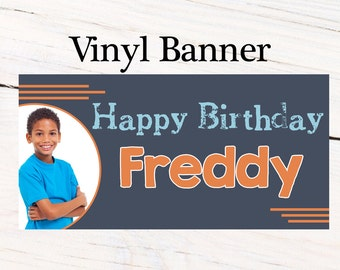 Happy Birthday Boys Banner ~ Personalized Party Banners - Photo Custom Vinyl Banner, Photo Banner, Printed Custom Banner