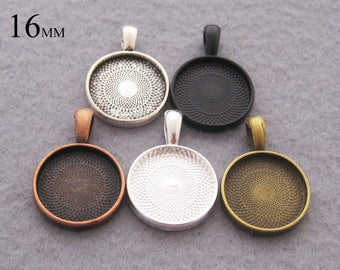 25 Pieces 16mm Round Pendant Setting, 16mm Circle Cabochon Tray Pendant 5 color Available