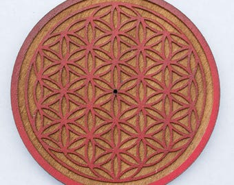 Flower of Life Incense Burner Wooden Flower of Life Incense Holder Meditation Incense Tray Handmade Incense Holder Incense Stick Ash Catcher