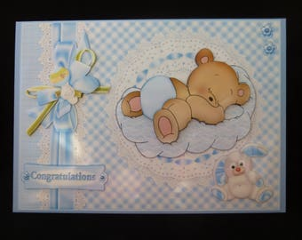 Large New Baby Boy 3d Decoupage Card with matching Gift tag - Congratulations - Handcrafted in UK