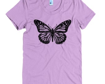 Women's Monarch Butterfly Tee - S M L XL Ladies - Black Print, American Apparel T shirt, Butterfly Shirt, Butterfly Tee, Nature - 15 Colors