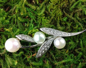 Bridal Comb Large Freshwater Pearl and Rhinestone Silver Leaf and Bud Bridal Haircomb