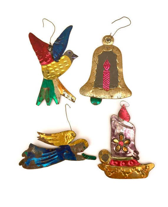 Tin ornaments mexican vintage christmas angel candle bird bell