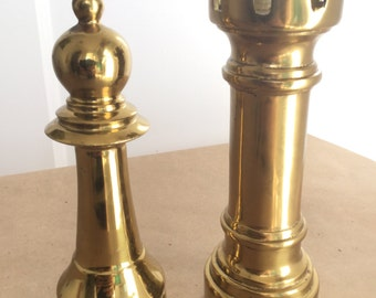 Two Large Vintage Brass Chess Pieces Bishop Rook