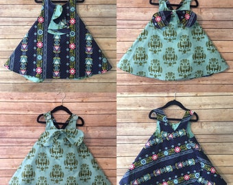 Made to order reversible pinafore tunic. Choose your size and fabrics size 2 3 4 5 6 7 8 Tunic top. Little girls reversible top.