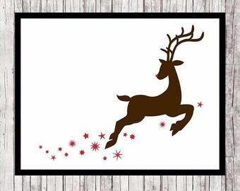 Rudolph Print, Christmas Wall Art, Reindeer Printable