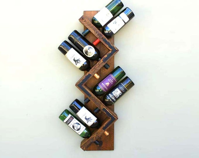 Rustic Wall Mounted Wine Rack, Wood Wine Rack 8 bottles - Golden Oak Stain