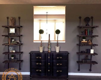 5 Level Wall Mounted Floating Shelf Bookcase - Industrial Pipe & Solid Wood CUSTOM! Style Of Ages