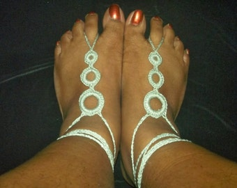 Barefoot Sandals-Crochet-Silver- 3 Ring Tier