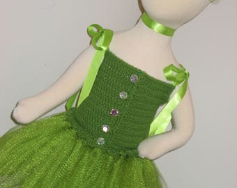 Baby Crochet Tutu Dress-Shimmer Green