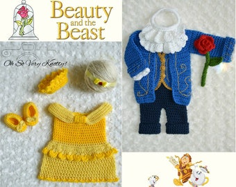 Beauty & The Beast Handmade Crochet Baby Costumes. Belle's Dress with crown. Beast Outfit with ruffle collar, vest, jacket, pants and Rose.