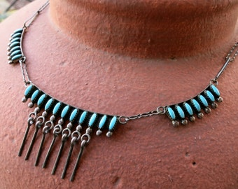 OLD ZUNI TURQUOISE Necklace, Sleeping Beauty Petit Point, Sterling Dangles