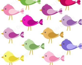 60% OFF SALE Bird clipart, cute birds clipart, vector graphics,  little birds clipart, digital clip art, commercial use - M451