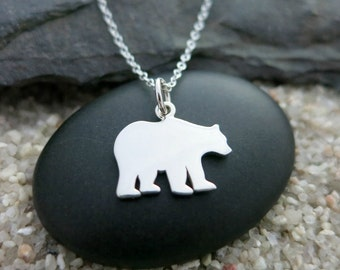Silver Bear Necklace, Sterling Silver Bear Charm, Wildlife Jewelry, Animal Necklace