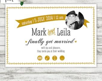 photo wedding invitations, black and white photo wedding invites, photo face invites, mariage, Hochzeit, modern wedding invites
