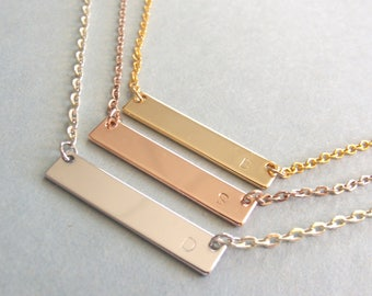 Bridesmaid Gift , Bridesmaids Initial Bar Necklace , Anniversary Gift , Gold Initial Necklace , Handmade Jewelry , Bar necklace , Gift idea