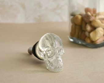 Clear glass skull bottle stopper. Make a statement!